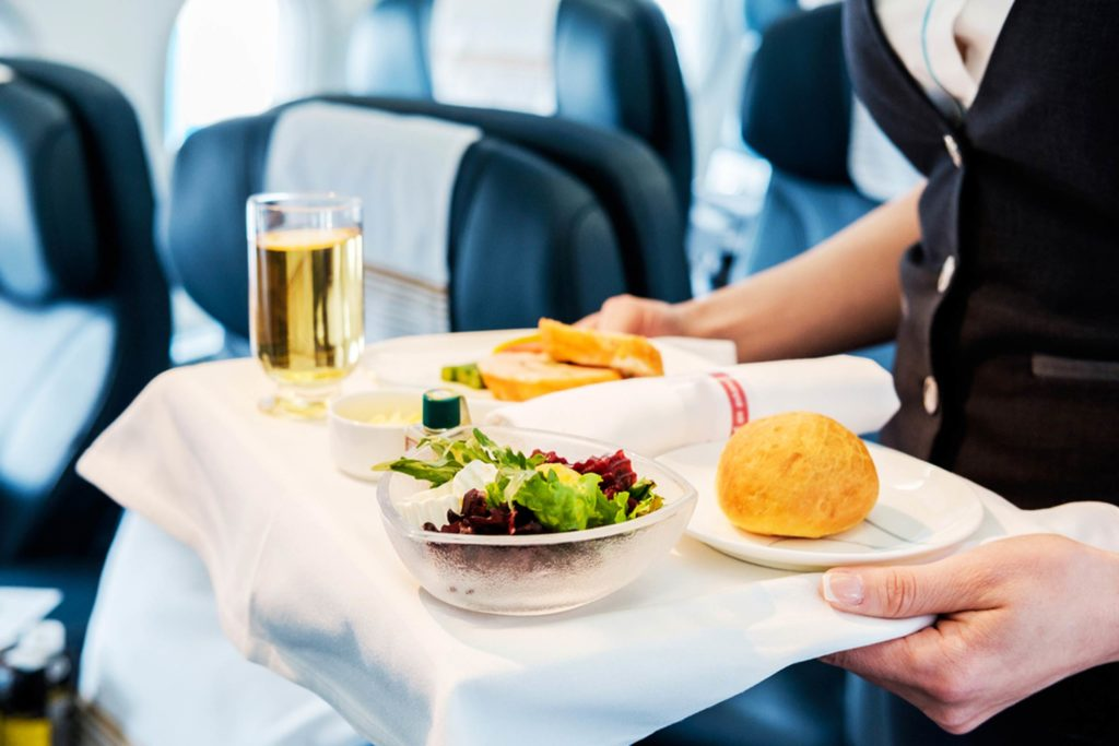 never eat on board an airplane