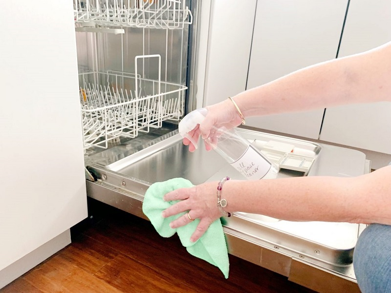 cleaning in the kitchen